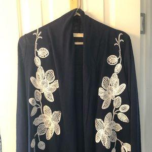 Christian Blue Kimono Embroidery